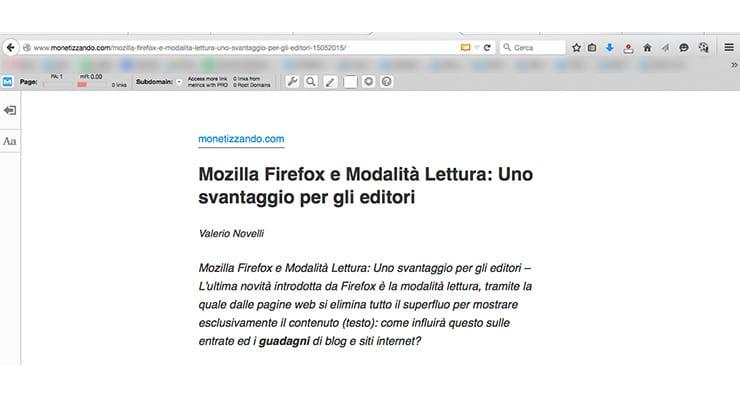 Mozilla Firefox e Modalità Lettura: Uno svantaggio per gli editori