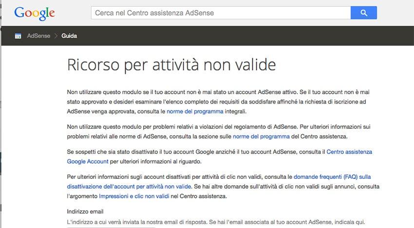 Google AdSense: Modulo Ricorso Attività Non Valide