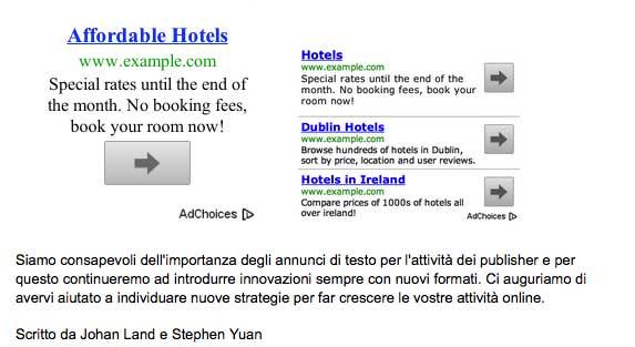 Google AdSense Nuovi Annunci Testuali