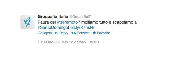 Groupalia e le speculazioni sul terremoto del 29 Maggio 2012 in Emilia