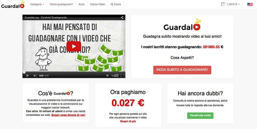 Come guadagnare con i video di YouTube? Guardalo.org