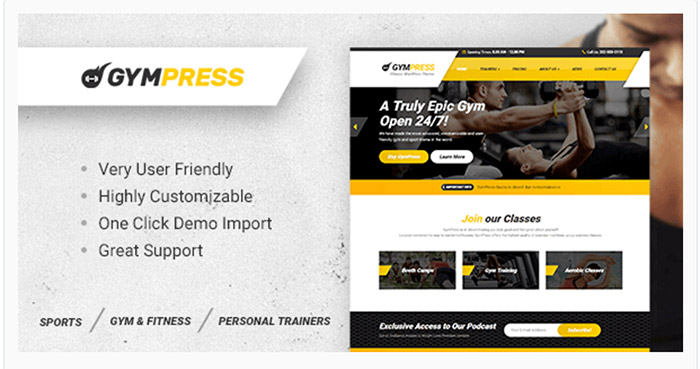 GymPress - WordPress Theme for Fitness and Personal Trainer
