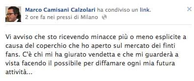 Marco Camisani Calzolari comunica la ricezione delle minacce