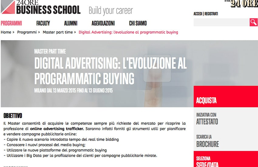Master Programmatic Buying 2015: Il Sole 24 Ore Business School