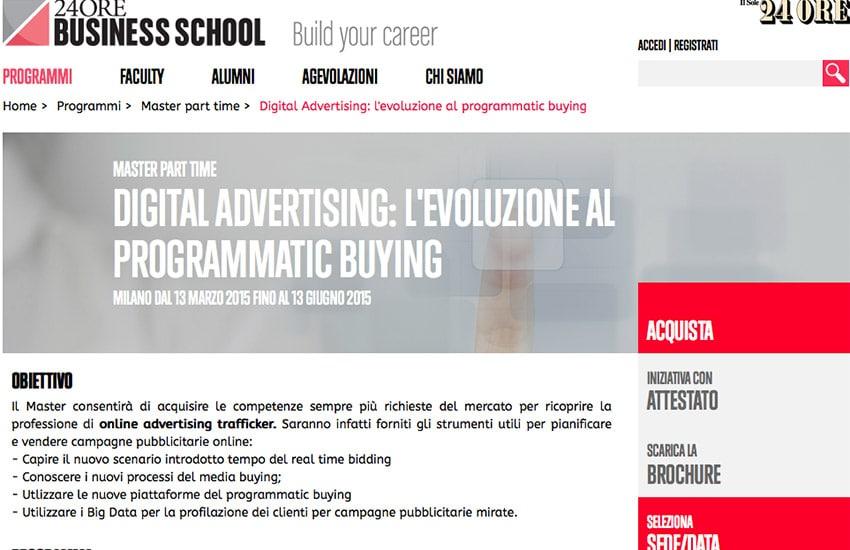 Master Programmatic Buying 2015: Il Sole 24 Ore Business School