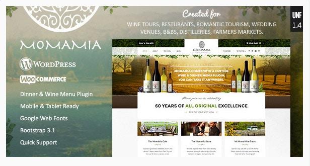 Momamia - Restaurant & Winery WooCommerce WP Theme