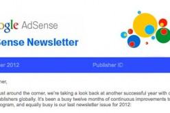 Newsletter Google AdSense Dicembre 2012 – Novità