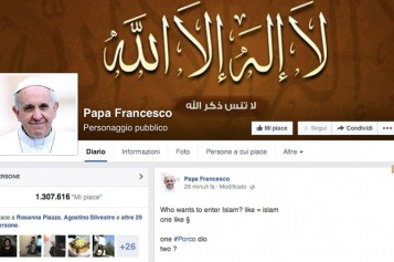 Domenica 6 Luglio viene rubata la pagina Facebook su Papa Francesco