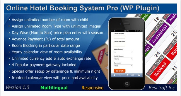Online Hotel Booking System Pro Plugin