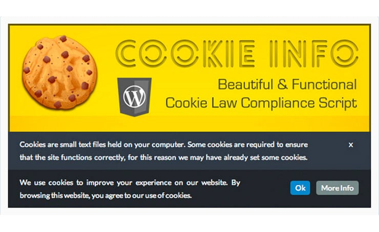 Plugin WordPress Cookie: Cookie Info WP Law Compliance Script