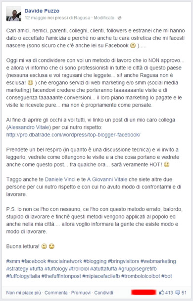 Post facebook Davide Puzzo - esperimenti bot