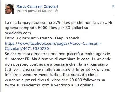 post facebook calzolari acquisto follower esperimento