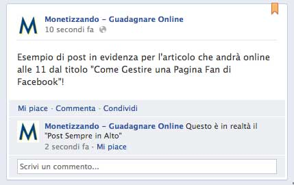 post sempre in alto facebook giugno 2012