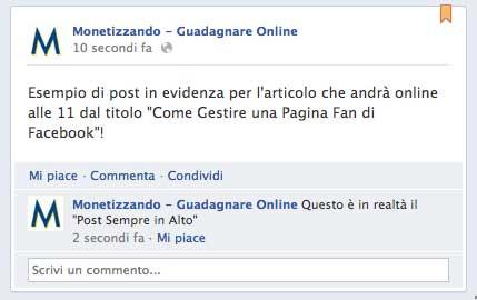 post sempre in alto facebook giugno 2012