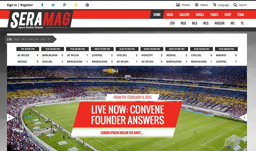 Template Wordpress Magazine - Sport - Calcio: Seramag