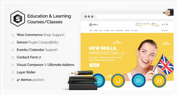 Skilled - School Education Courses WordPress Theme
