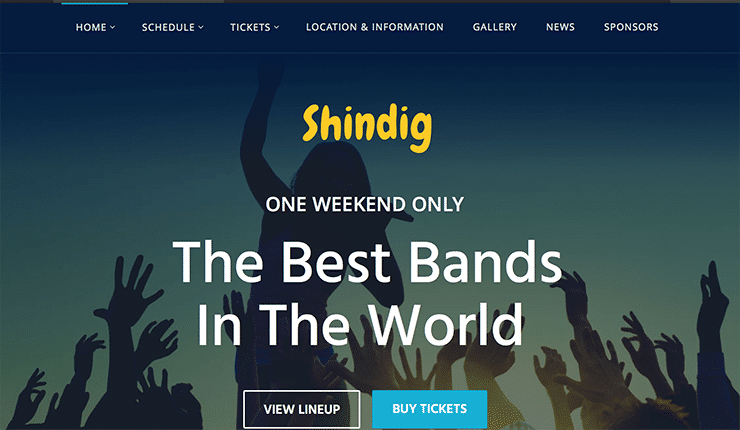 Tema Wordpress per Eventi, Corsi, Concerti, Manifestazioni: Shindig 2015