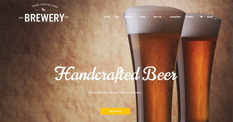 Template Wordpress 2015 per Birreria - Locale: Brewery
