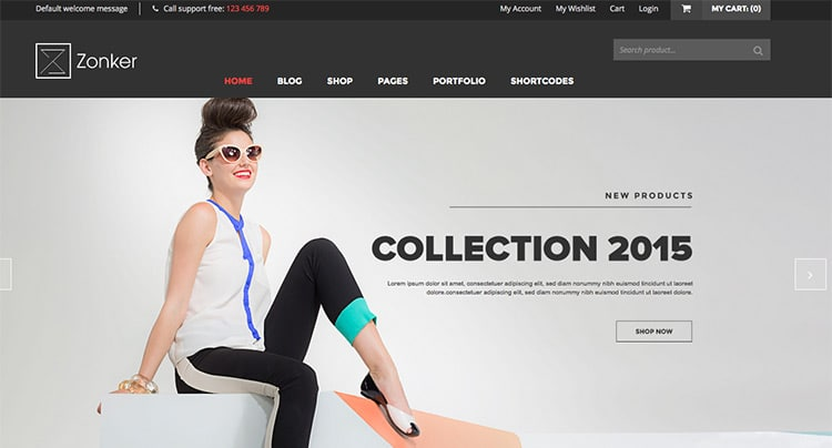 Template Wordpress eCommerce 2015: Zonker (WooCommerce)