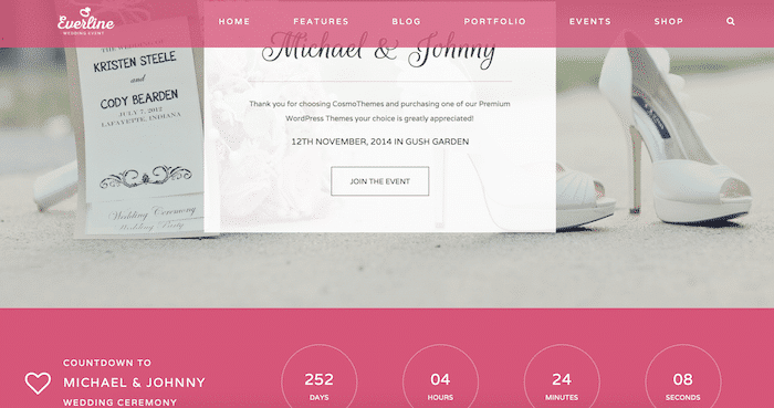 Template Wordpress 2015 Wedding - Matrimonio: Everline