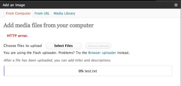 Wordpress errore caricamento immagini http