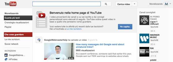 YouTube Si Rinnova: Nuova Home Page e Layout Dicembre 2012